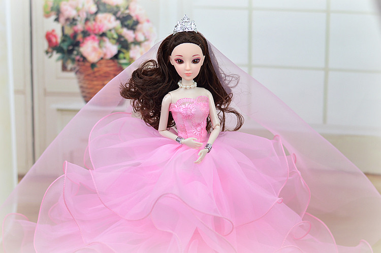 Marriage ceremony Gown + Veil / Extra Colours Multi-layers Lace Huge Bride Robe Princess Clothes Outfit Garments For 1/6 Kurhn Barbie Doll