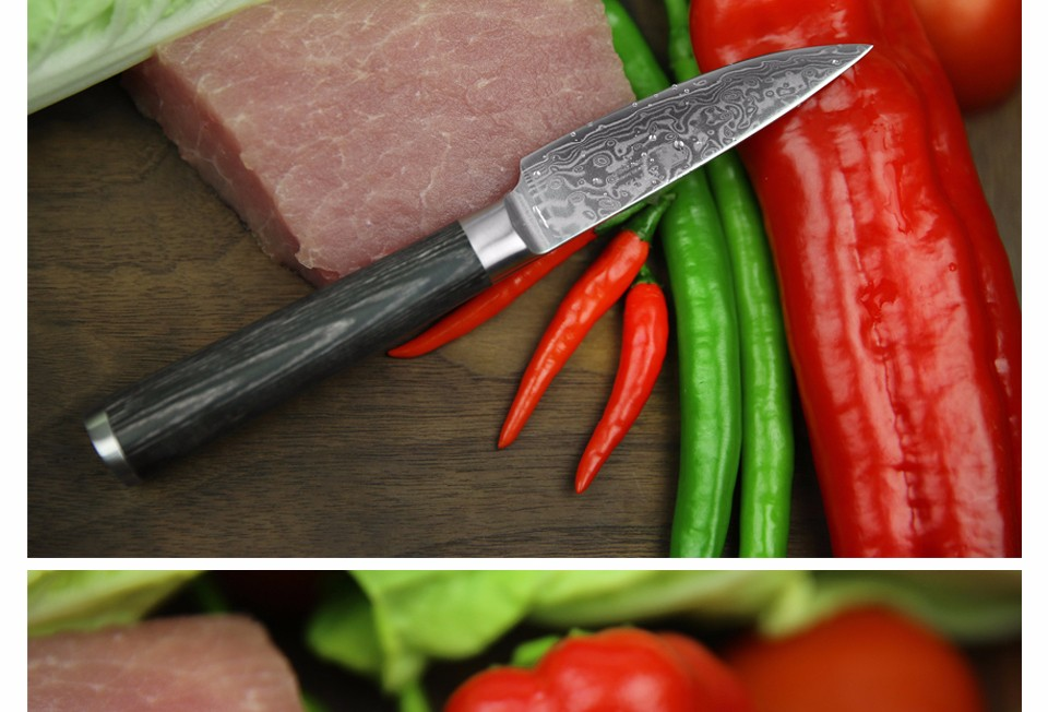 "Buy NEW 3.5"" INCH Damascus kitchen knives paring fruit knife kitchen knife VG10 steel parer knife with Mikta handle FREE SHIPPING cheap"