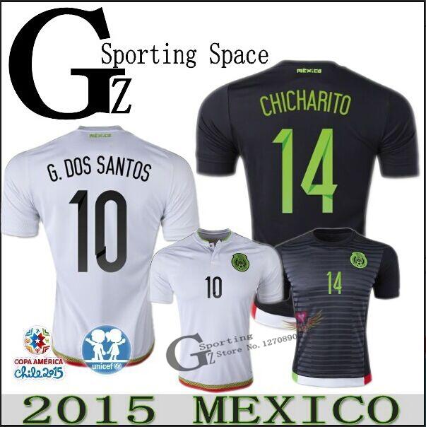 CHICHARITO Mexico jersey 15 16 soccer home black away white G DOS SANTOS C VELA 2016 Mexico football soccer shirts 2015 custom(China (Mainland))