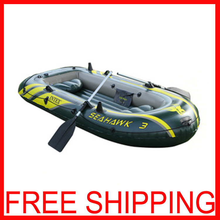 3 Person Inflatable Boat 295*137*43 Fishing Boat Seahawks 3 Folded Boat Banana Paddle of PVC 3 Person Inflatable Boat(China (Mainland))