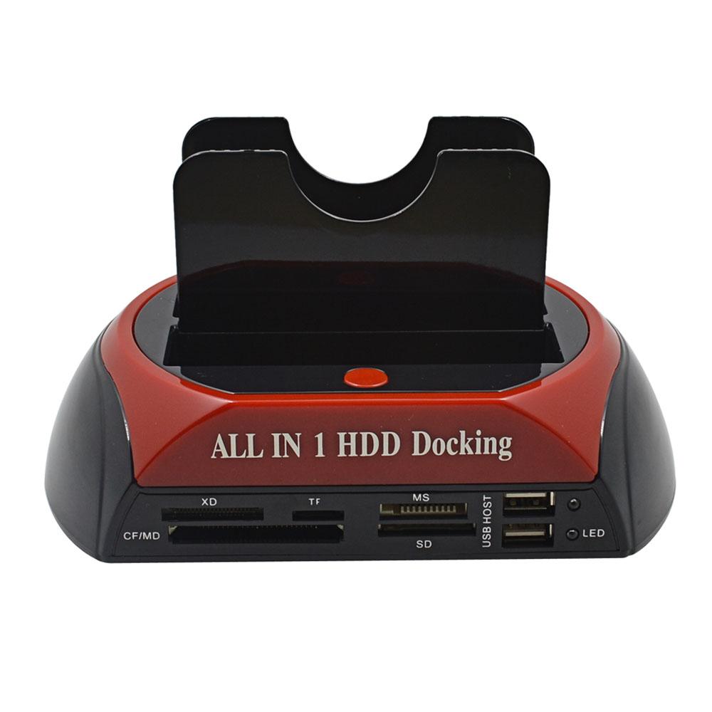 """All In 1 HDD Docking Station 3TB 3.5"""" 2.5"""" Dual USB 2.0 SATA IDE External HDD Box Card Reader Hard Drive Enclosure(China (Mainland))"""