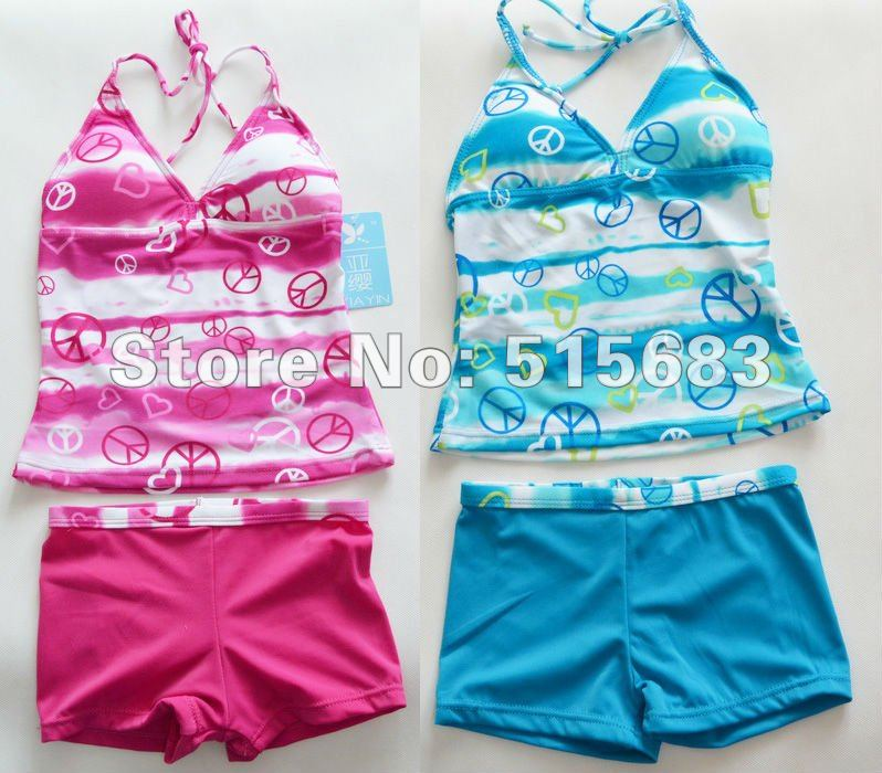 Retail-Hot sale-Freeshipping-Pink Blue Girls Swimwear Tankini Beachwear Bikini Swimsuit Top Pants 6-16Y Bathing Holiday - JUDY Fairy Store store