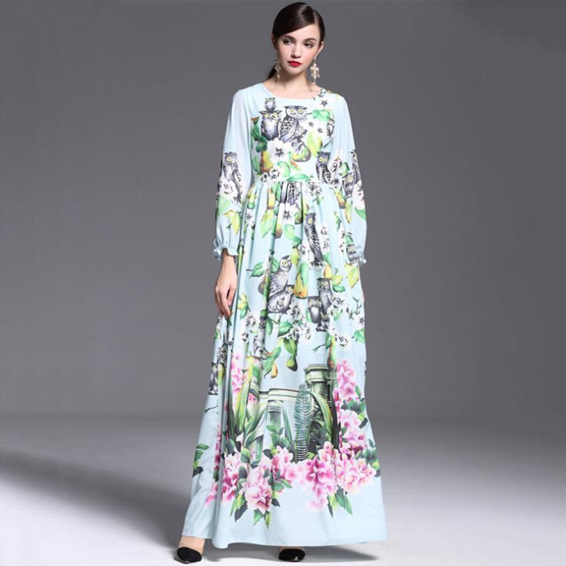 2015 Women runway fashion winter spring dress elegant retro prints long sleeve designer maxi dress casual beach dress 2015 D4966Одежда и ак�е��уары<br><br><br>Aliexpress