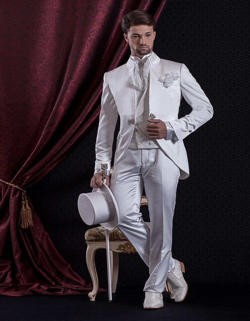High Quality Custom Made Groomman Dinner Wedding Suits For Man White Satin Groom Suit With Jacquard Vest (Jacket+Pants+Vest)  Одежда и ак�е��уары<br><br><br>Aliexpress