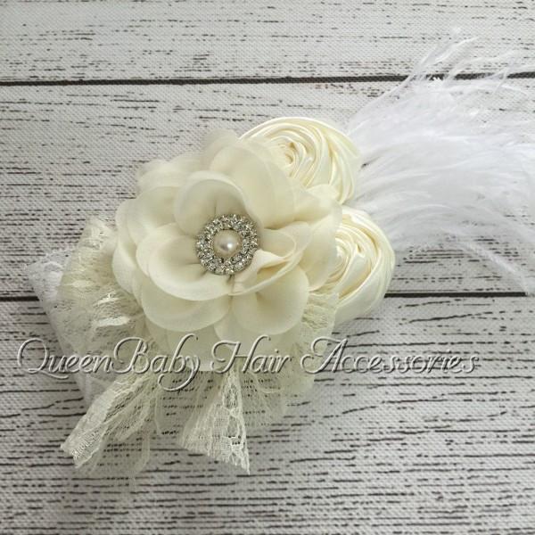 Розничная! Атласная соответствия с бантом перо кружева повязка на голову шифон цветок ...