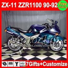 7gifts KAWASAKI NINJA ZX11 Dark blue light 36#55 ZX11R ZX 11 ZZR 1100 90 91 92 Blue 1990 1991 1992 ZZR1100 Fairing - Motoclub store