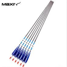 Hot Sale 6Pcs Lot 80cm Blue Archery Carbon Arrow Handmade with 7 5mm Diameter 20 60lbs