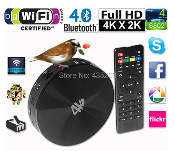 Android TV Box 4K Quad Core HDMI Mali 450 Android KitKat 4.4 2G/16G XBMC TV Box 4K HDMI Bluetooth WiFi Android 4.4 Mini PC(China (Mainland))