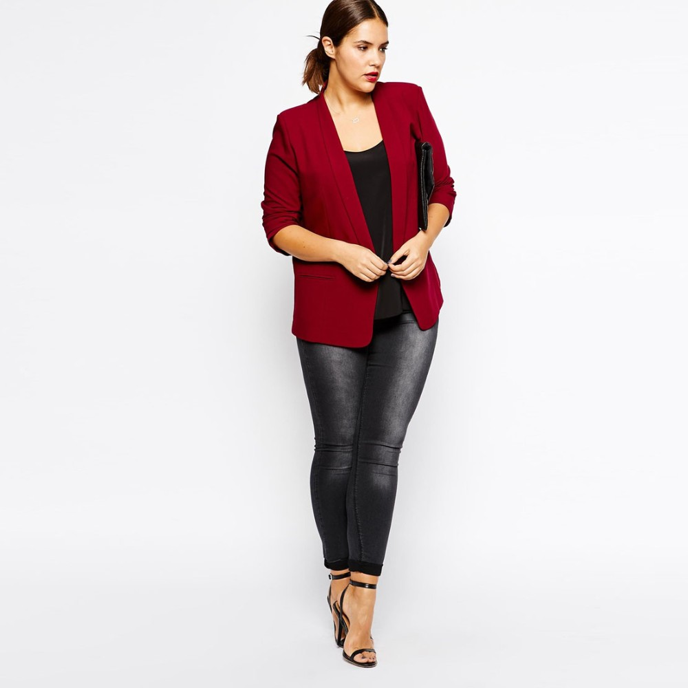 Plus Size Women Clothing Black Blazer in Crepe with Slim ...