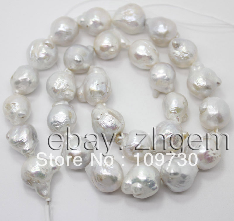 """Jewelry 006 sale 11mm*14mm natural white keshi pearl loose beads 16""""long strand(China (Mainland))"""