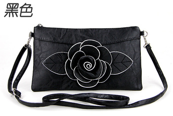 Free Shipping 2013 Fashion New Genuine Rose  Flower Handbags Girls Small Clutch shoulder Messenger Bag Camellia Flower Handbag