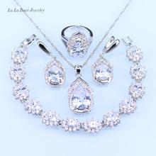 L & B Australie Cristal Goutte D'eau argent 925 Ensembles de Bijoux Pour Femmes Bracelet/Boucles D'oreilles/Collier/Pendentif/anneaux(China (Mainland))