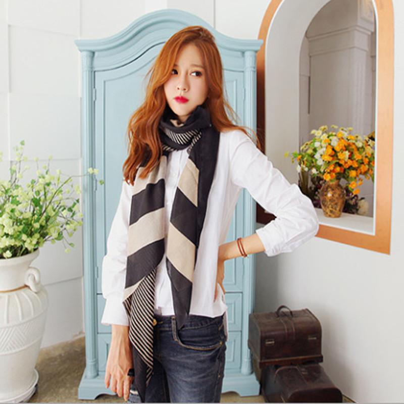 170*80cm Chiffon Silk Scarf Women Stripe Flower Print Brand Scarf Designer Camping Match Fall Ladies Fashion Scarves 2015 WJ061(China (Mainland))