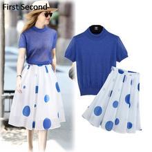 2016 Two Piece Set Womens Spring Autumn Hoodies Women Short Sleeve Sweatshirt Organza Polka Dot Print Knee-Length Skirt Set Suit(China (Mainland))