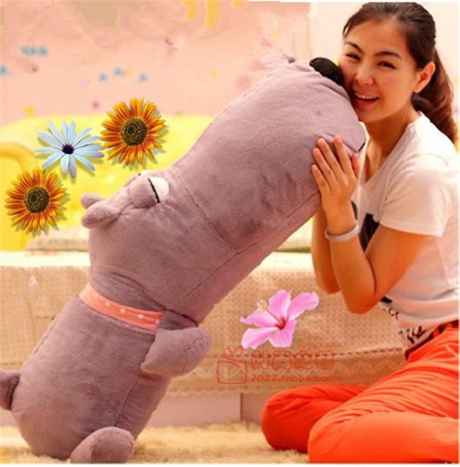 huge lovely Plush dog pillow toy purple lying unlucky dog doll birthday gift about 110cm(China (Mainland))