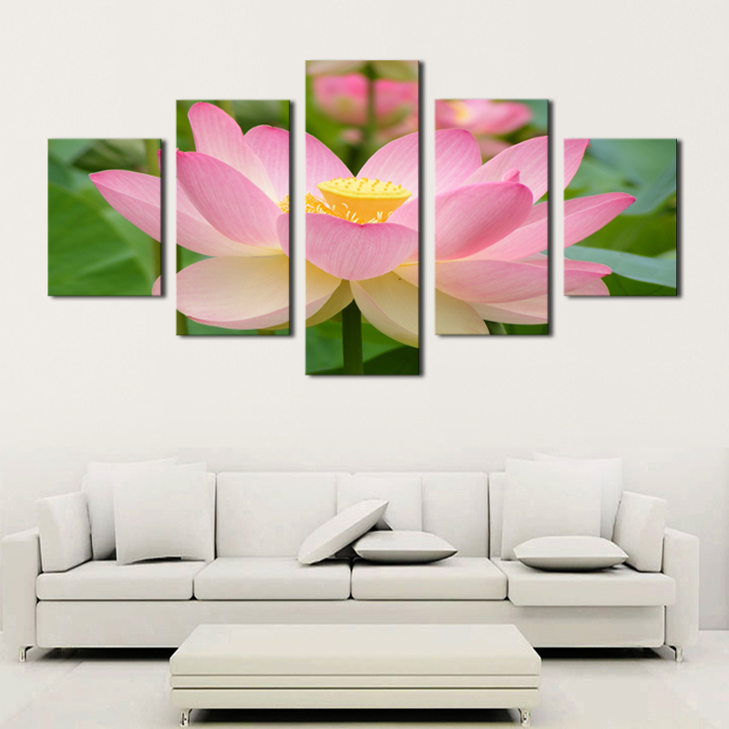 Buy unframed 5 panels pink lotus flowers for Cadre floral mural