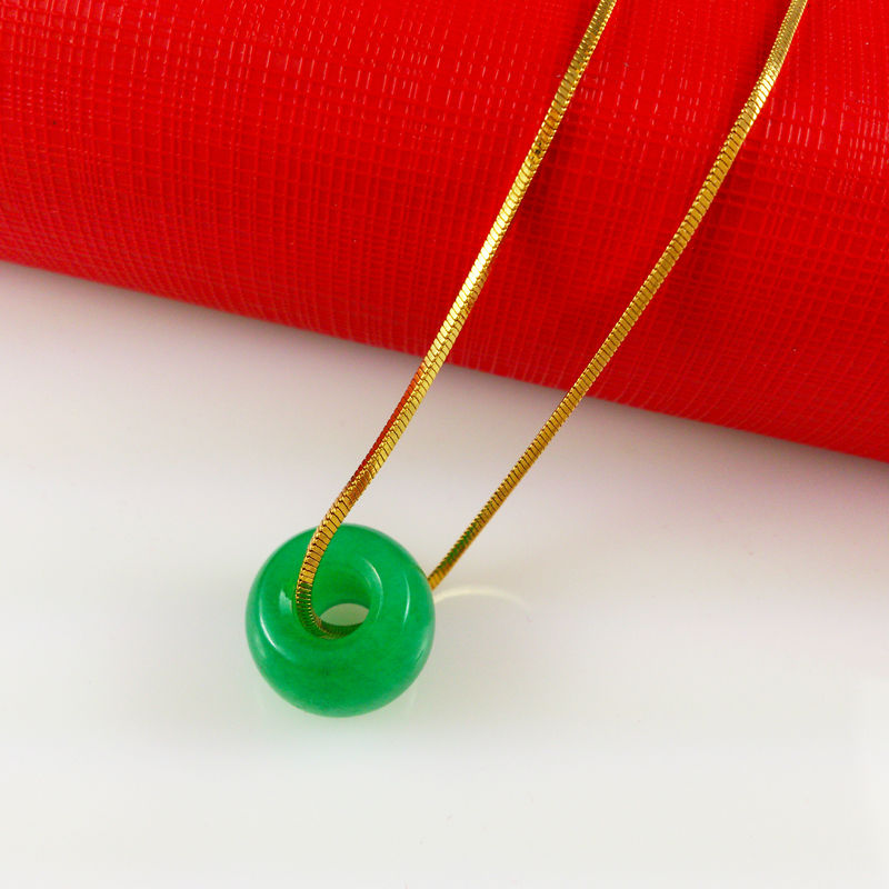 Wholesale High quality Green mineral fashion Jewelry Vacuum Plating 24K Gold Pendant Necklace,Unisex necklace, A017-1(China (Mainland))