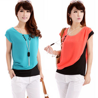 Nice quality 2014 summer new casual womens shirts and blouses, ladies' shirt chiffon top, 3 colors, size M/L/XL