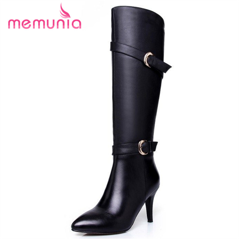 Фотография fashion knee high heels boots genuine leather stiletto high heels boots pointed toe buckle spring autumn ladies shoes