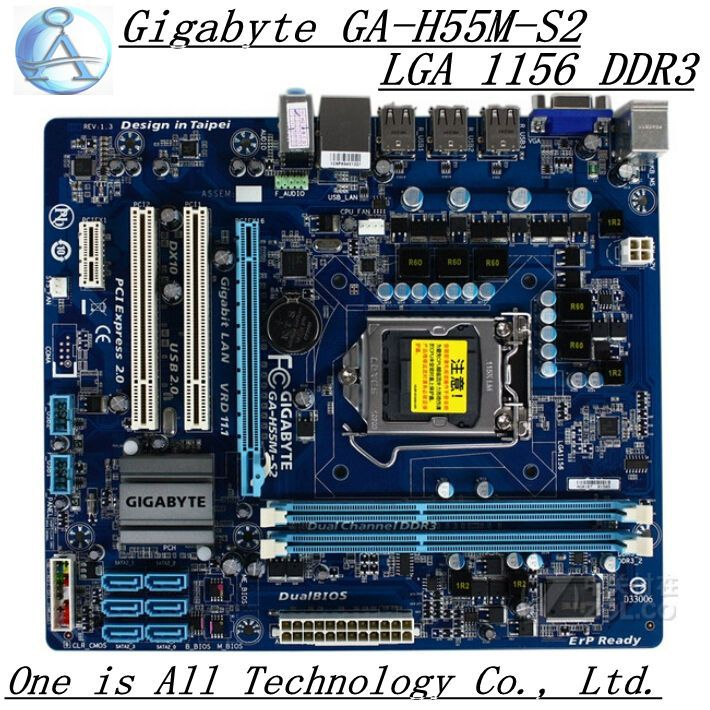 Free shipping 100% original motherboard for Gigabyte GA-H55M-S2 DDR3 / 1156-pin power all-solid support I3 I5 I7(China (Mainland))