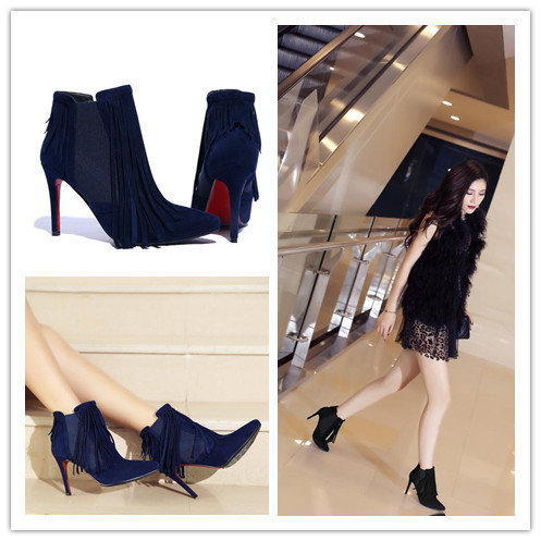 2015 Fall Winter Boots Tassels Genuine Leather Boots Blue Sheepskin Ankle Boots Thin Pumps Super High Heels Boots Shoes Woman<br><br>Aliexpress