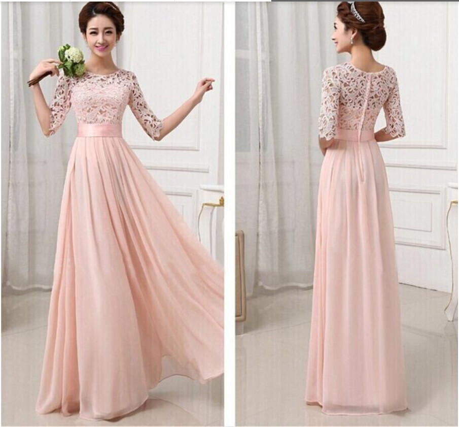 2015 women half sleeve lace hollow out long wedding party for Long sleeve chiffon wedding dress