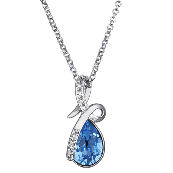Elegant 18K White Gold Plated Ocean Blue Austrian Crystal Water Drop Pendant Necklace Lady Platinum Jewelry - Bottom Price(B & P store)