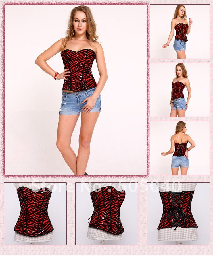 Free shipping the synthetic leather plastic boned corset DH7056(China (Mainland))