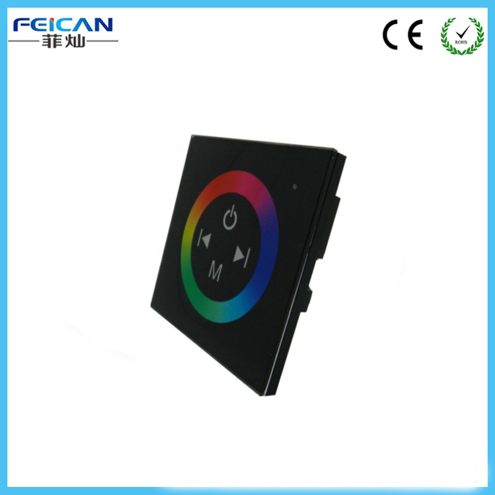 DC12V-24V 12A 4A /CH Black Wall Mounted RGB Touch Panel LED Controller Touch Panel RGB Full Color LED Controller Free Shipping(China (Mainland))