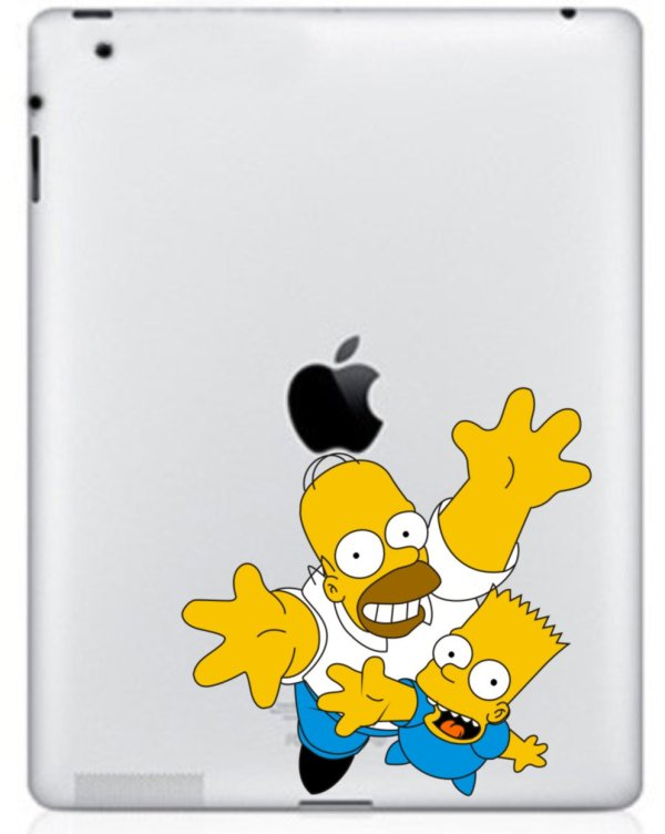 The Simpsons Two Guys Colored Pattern PVC Decal Protective Back Sticker for Ipad Free Shipping