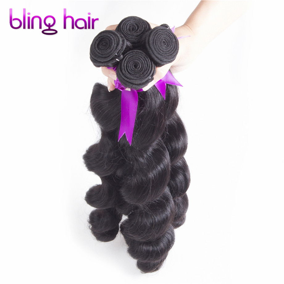 7A Unprocessed Brazilian Loose Wave Virgin Hair 4 Bundles loose wave Brazilian hair weave bundles curly afro VIP Hair Products