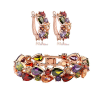 Free box  Promotion Price Rose Gold Plated Mona Lisa Top AAA  Multicolor Cubic Zirconia Diamond Women Jewelry Sets