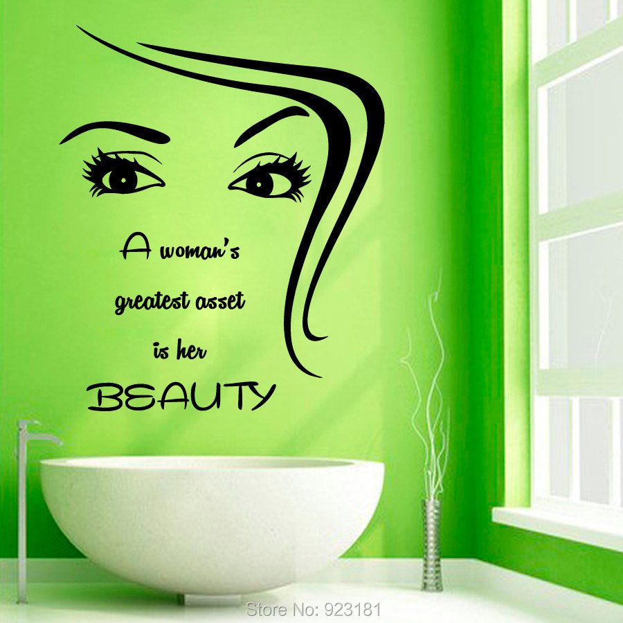 Girl Make Up Beauty Spa Salon Hair Wall Art Sticker Decal Home DIY Decoration Wall Mural Removable Bedroom Decor Sticker 67x57cm(China (Mainland))