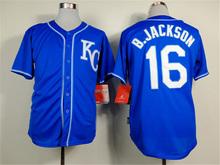 16 Bo Jackson 18 Ben Zobrist Throwback Jersey blue gray white(China (Mainland))