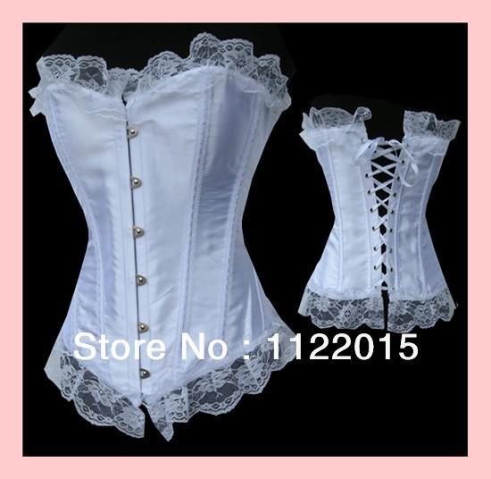 New sexy white waist training corset gothic burlesque for Corset lace up wedding dress