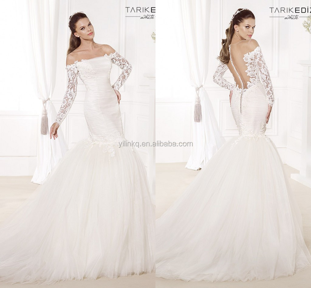 2014 hot sale elegant alibaba white see through long for Long sleeve lace wedding dresses for sale
