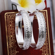 Earrings Silver Plated Earrings Silver Trendy Jewelry Earrings Men's Round Jewelry Wholesale Free Shipping anzb LE361(China (Mainland))
