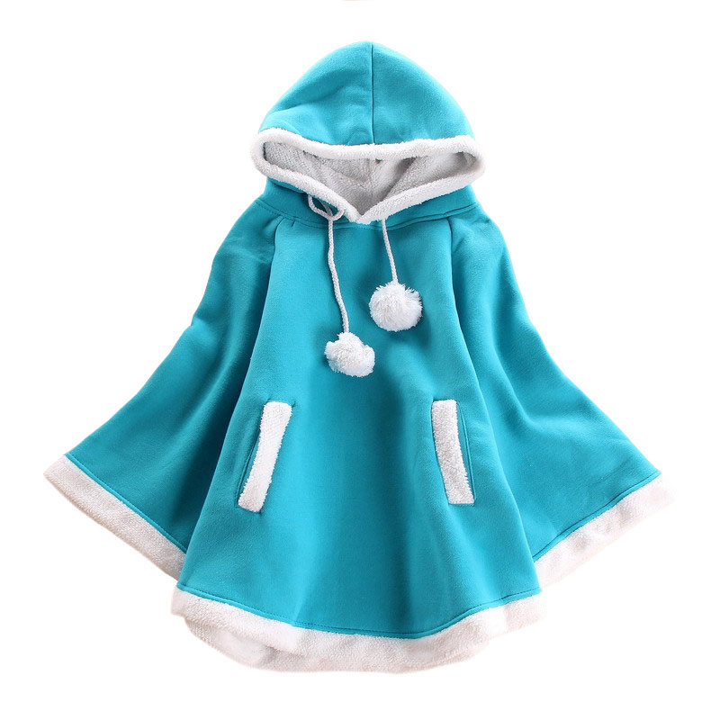 4 color! 2015 Ladies Cute irregularity Thicken Fleece Pullovers Hooded Cape Cloak Poncho Winter women outwear coat Free Shipping-in Basic Jackets from Women