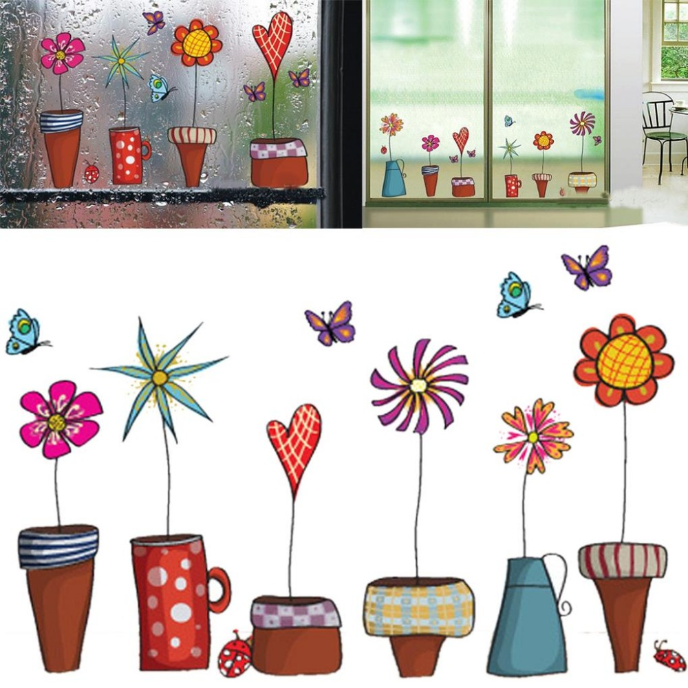 Cute cartoon flower butterfly wall stickers diy decal for Cute house decor