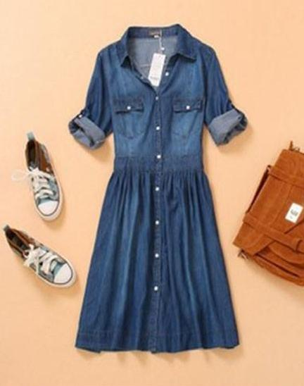 New summer dress 2014 women casual blue 3 4 foldable for Non see through white dress shirt
