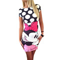 Summer Style Women Dress Plus Size 3XL 2016 Sexy Casual Cute Cartoon Print Vestido Party Slim