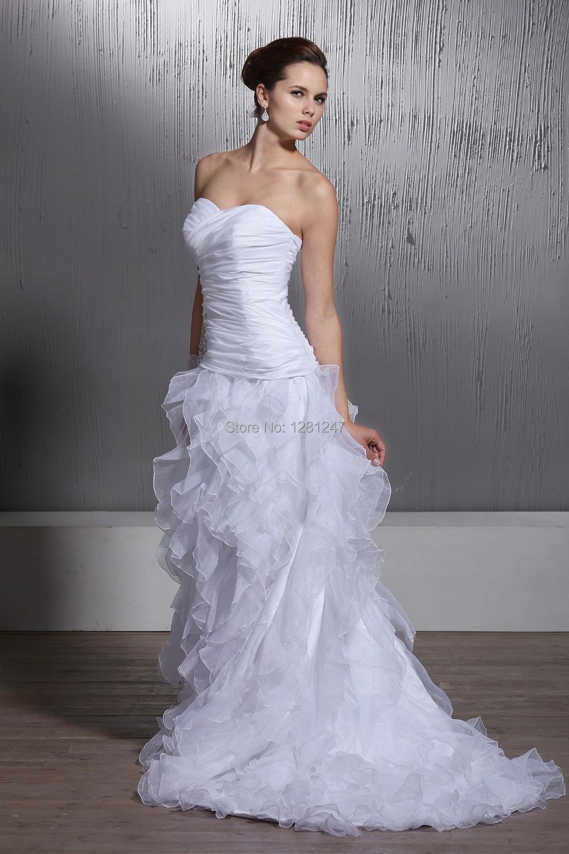 2014 strapless sweetheart neck wedding dress trailing for Wedding dress trim beading