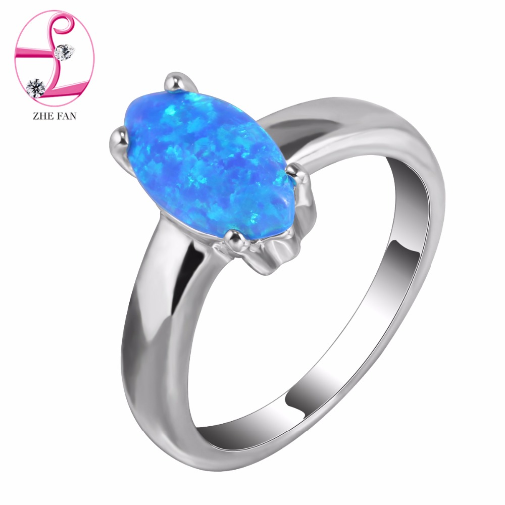 ZHE FAN Simple Blue White Pink Fire Opal Rings for Women Marquise Ring For Female Dress Party Wedding Korean Jewelry(China (Mainland))