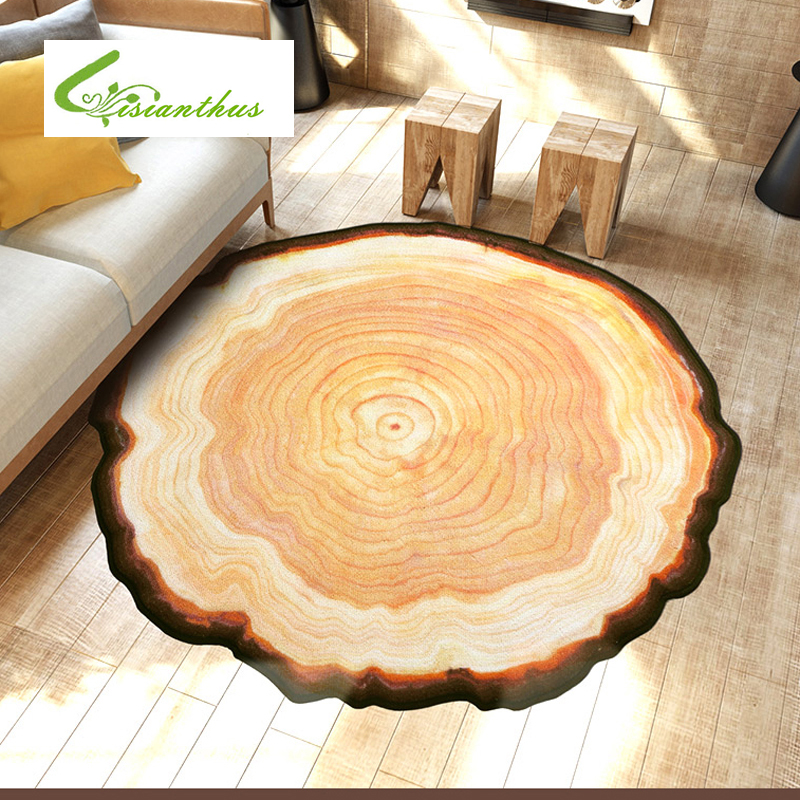 Antique Wood Tree Annual Ring Round 3D Carpet for Bedroom Computer Chair Area Rugs Kids Bedroom Play Mat Coffee Table Mats(China (Mainland))
