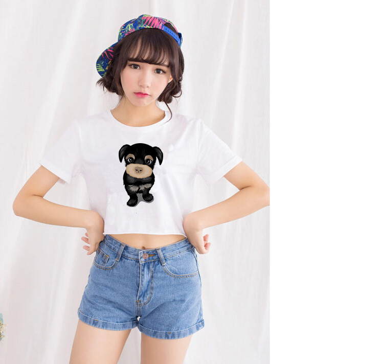 New arrival super cute little dog crop top Women lovely summer style short shirts Brand breathable soft cotton shirts(China (Mainland))