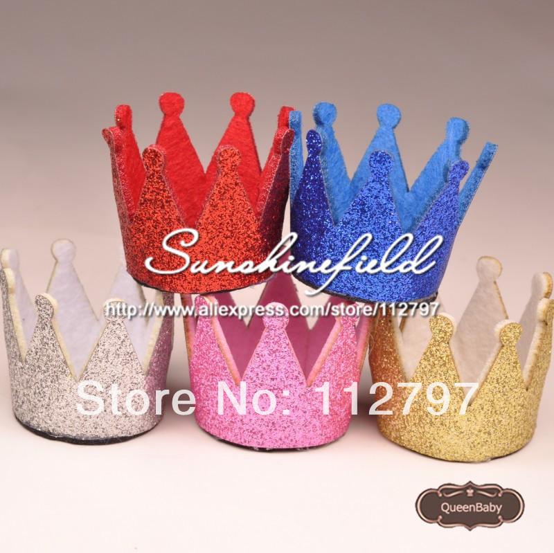 Trial Order Mini Felt Baby Birthday Crown, Glitter Felt Crown , First Birthday Hat,30pcs/LOT QueenBaby(China (Mainland))