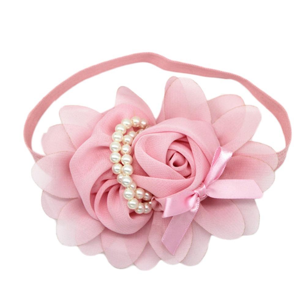 Fashion Baby Girl Headband 1pcs Rose Pearl Newborn Chiffon Flower Headband Baby Girls Infant Headband Hair Accessories(China (Mainland))