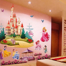 Grande colorful princess castle wall stickers decalcomania del vinile ragazze bambini camera da letto arte(China (Mainland))