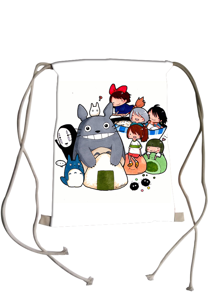 Spirited Away backpack women Totoro backpacks for teenage girls school bags HD print mochila kids travel children drawstring bag(China (Mainland))