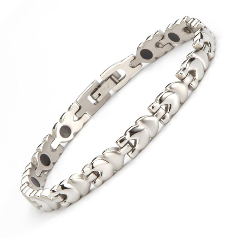 Fashion Friendship Bracelets Stainless Steel Health Germanium Bracelet Ladies Negative ion Bracelets Wrist Bands For Women(China (Mainland))
